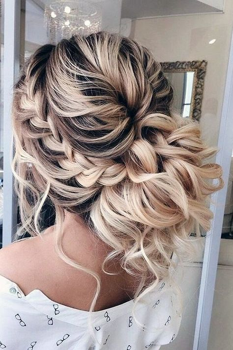 unique wedding hairstyles creative unique wedding hairstyles messy braided updo braidinglife via - - Unique Wedding Hairstyles, Creative Hairstyles, Wedding Hairstyles And Makeup, Bride Hairstyles With Veil, Bridal Hairstyle, Wedding Hair Inspiration, Wedding Ideas, Formal Wedding, Wedding Planning