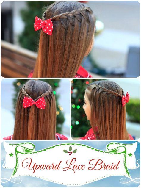 An upward lace braid!  So easy but love the added look of the hair pulling upward into the braid.   #hairstyles #CuteGirlsHairstyles #CuteGirlHair #hairstyle #braid #braids #lacebraids