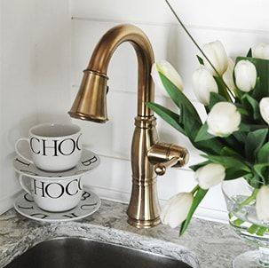 Beautiful Delta Cassidy Bar Faucet In Champagne Bronze Gold