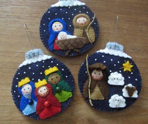 Felt Christmas Decorations, Felt Christmas Ornaments, Thanksgiving Decorations, Christmas Holidays, Christmas Crafts, Felt Animal Patterns, Felt Finger Puppets, Nativity Crafts, Quilting