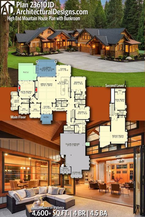 Architectural Designs Rugged And Rustic Home Plan 23610jd Gives You 4 Bedrooms 4 5 Baths And 4 6 Rustic House Plans Craftsman House Plans Mountain House Plans