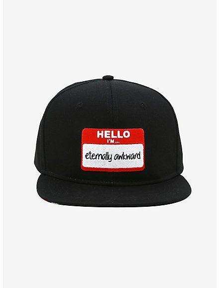 Hello I M Eternally Awkward Snapback Hat Black Snapback Hats Snapback Hats Vintage Style Outfits Retro
