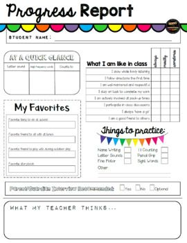 Here I Have A Fun Colorful Progress Report For Teachers To Complete For Children In Their First Progress Report Template Progress Report Report Card Comments