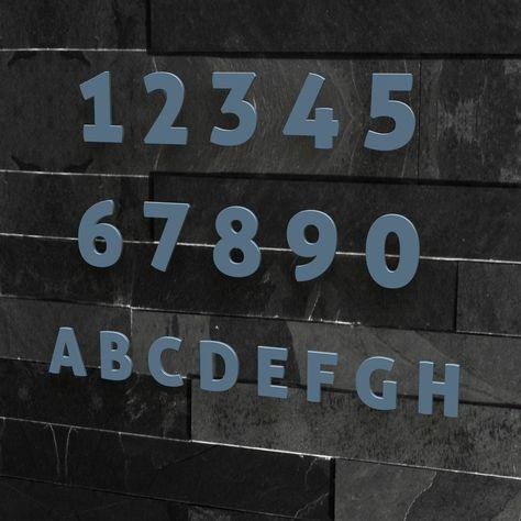 Hausnummer Nr. 4 - Schriftart: Modern - Höhe: 20 - 30 cm - viele Farben wählbar (RAL 5014 taubenblau (blau) glänzend, 20 cm): Amazon.de: Küche & Haushalt