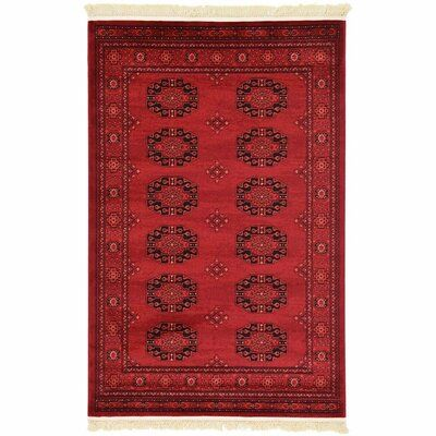 World Menagerie Woodbranch Oriental Red Area Rug In 2021 Unique Loom Area Rugs Red Area Rug