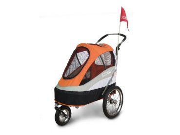 Innopet Sporty Trailer Hundebuggy Orange Schwarz Fur Kleine Hunde Mit Mobilitatsproblemen Mit Luftgefullten Profil Mit Bildern Hundekinderwagen Hund Fahrrad Alter Hund