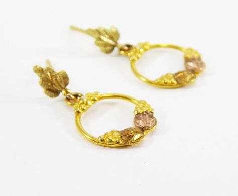 1f57b14c7 Petite Black Hills Gold Earrings, Dangling Hoops with Grape Leaves, Rose  Gold and Yellow