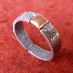 Bague pour homme, artisanale, fait main, aspect rustique, anneau ouvert