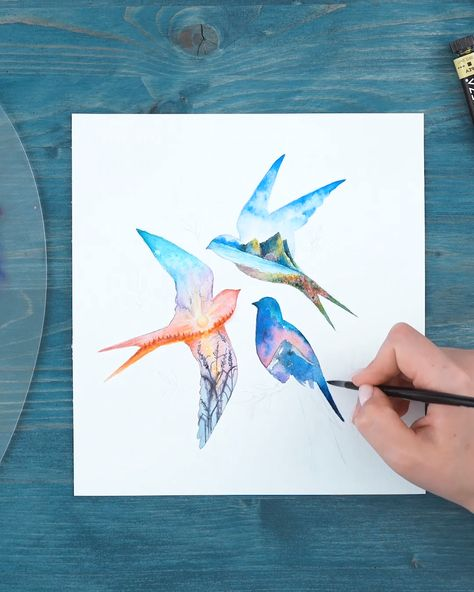 Get inspired and learn how to make this incredible effect with watercolors. Watch the full video on YouTube!👉