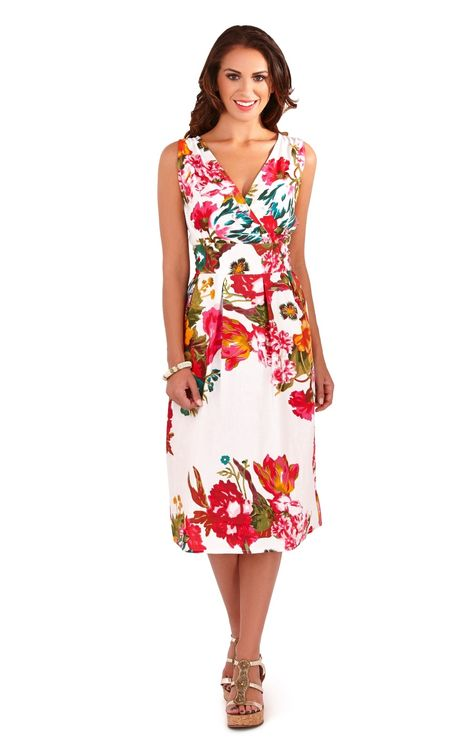 Womens Floral Summer Dress Mid Knee Length 100/% Cotton Ladies Size UK 8-16