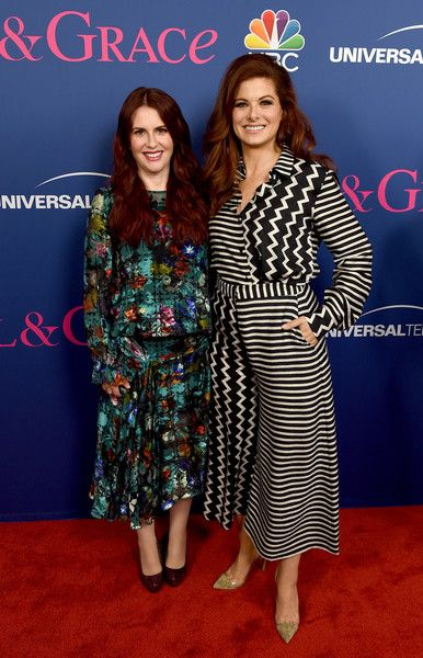Actresses Megan Mullally (L) and Debra Messing arrive at NBC's 'Will & Grace' FYC Event.