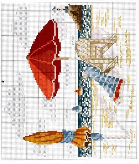 5dffea66e Point de croix *♥* A la plage | Ellie | Funny cross stitch patterns ...