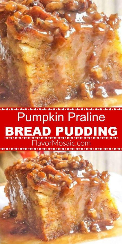 Pumpkin Praline Bread Pudding makes an easy yet awesome Fall or Thanksgiving pumpkin dessert. Pumpkin Praline Bread Pudding makes an easy yet awesome Fall or Thanksgiving pumpkin dessert. Thanksgiving Recipes, Fall Recipes, Sweet Recipes, Holiday Recipes, Thanksgiving Stuffing, Thanksgiving 2020, Christmas Recipes, Delicious Recipes, Pecan Desserts