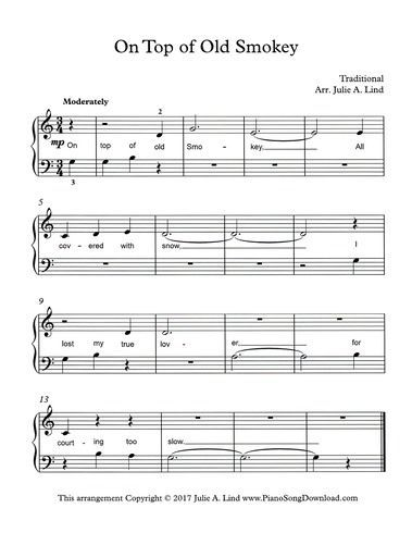 On Top Of Old Smokey Free Beginning Piano Sheet Music For Piano