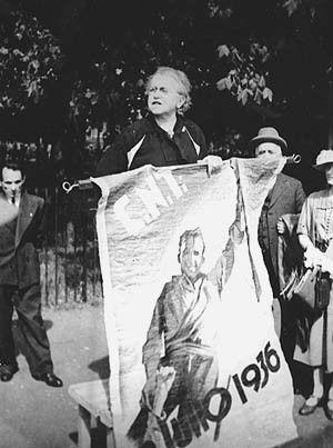 Emma Goldman at a May Day Rally, Hyde Park, London, May 1, 1937 | Jewish Women's Archive