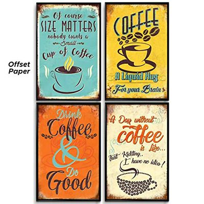 Wall Art Posters Vintage Coffee Shop Kitchen Room Decor Pictures Quotes 4 Piece Fashion Home Garden Home Cafe Wall Art Vintage Coffee Shops Coffee Wall Art