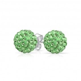 Crystal Cufflinks and Studs with Light Green Center