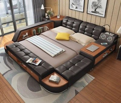 All In One Leather Double Bed With Speakers Storage Safe Perfect Relaxation Leather Double Bed Bed Design