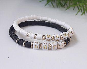 Black Bead Bracelet Women Custom Beaded Name Bracelet Engraved Name Silver Charm Bangle Bracelet Single Wrap BB2-16