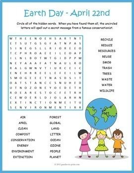 Earth Day Word Search Puzzle Worksheet Activity English Worksheets For Kids Earth Day Earth Day Activities Earth day worksheets for esl students