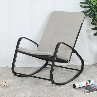 Hashtag Home Waylon Patio Rocking Chair With Cushions Rocking Chair Cushions Rocking Chair Pads Outdoor Rocking Chairs