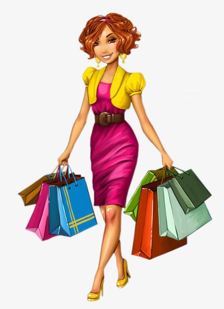 cartoon shopping lady Smile Shopping Bag Red Skirt PNG Image Bag illustration Illustration girl Cartoon clip art