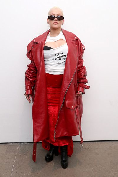 Christina Aguilera poses backstage at the Christian Cowan Show during New York Fashion Week.