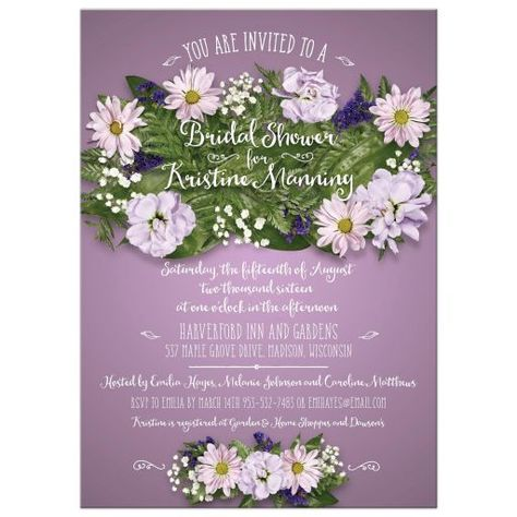 This floral bouquet bridal wedding shower Invitation features photographic flowers and ferns that show off a typographic treatment of the handwritten-look event and bridal or couple name(s). The bouquet centers on a saturated purple gradient...