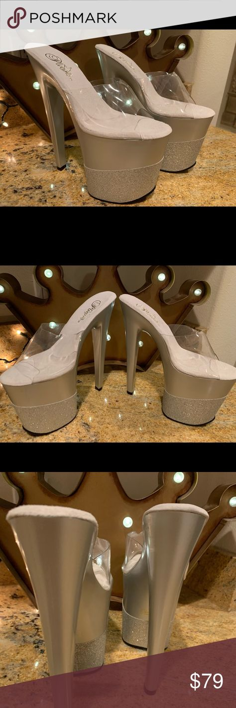New Pleaser Glitter Extreme Heels Size 8 New Pleaser Glitter Heels Size 8 Pleaser Shoes Platforms