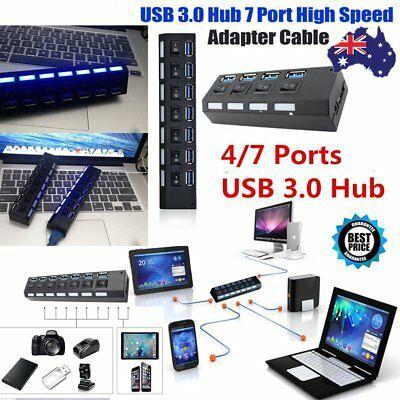 7 Port USB 2.0 HUB High Speed Powered Adapter Cable Splitter Extender P C