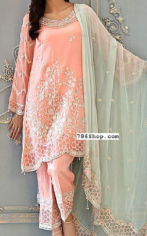 f1d36d5bfa9 Peach Chiffon Suit | Buy Mohagni Pakistani Dresses and Clothing ...