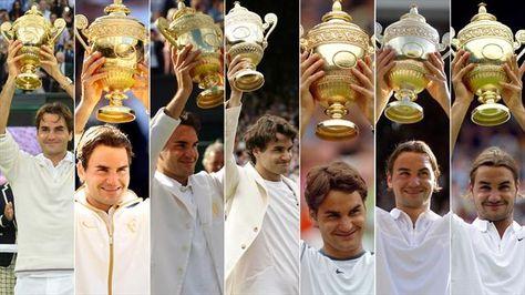 Roger Federer et ses 7 trophées de Wimbledon