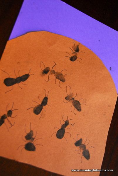 A is for Ant. Make the letter A brown like an anthill then put fingerprint ants…