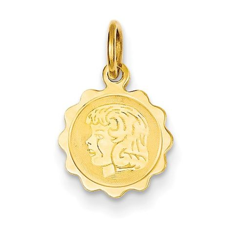 14k Yellow Gold Girl Head on .011 Gauge Engravable Scalloped Disc Charm