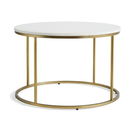 Delaney Round Coffee Table White Marble Small Space Furniture