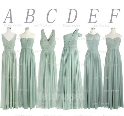 Dusty green bridesmaid dress, mismatched bridesmaid dress, long bridesmaid dress, chiffon bridesmaid dress, wedding party · Happybridal · Online Store Powered by Storenvy