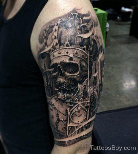 Skull And Crown Tattoo On Half Sleeve Crown Skull Sleeve Tattoo Skull Sleeve Tattoos Skull Tattoo Design Crown Tattoo
