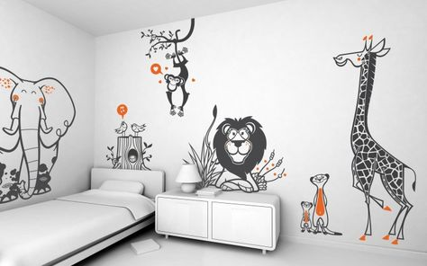Safari kids wall decals in 2019 | Childrens bedroom ...