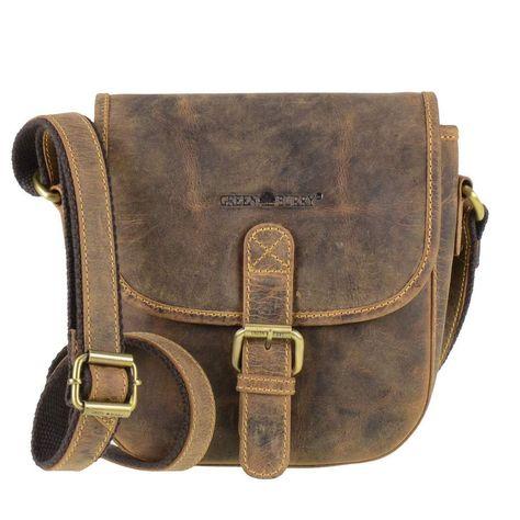 b18fe3f248082 Leder Umhängetasche kleine Tasche antikbraun Schultertasche Greenburry  Vintage