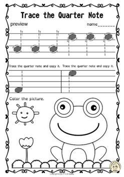Tracing Music Notes Worksheets for Spring |... by Anastasiya ...