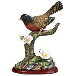 Robin Bird Figurine Porcelain with Flowers on Wood Base - Wildlife Collectible Banberry Designs http://www.amazon.com/dp/B003H6WSHM/ref=cm_sw_r_pi_dp_2.AOtb0321QWJ620