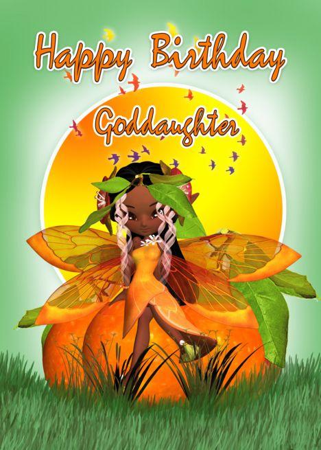 African American Happy Birthday Goddaughter : african, american, happy, birthday, goddaughter, Goddaughter, Birthday, Moonies, Citrus, Fairy, African, American, Ca…, Cards,, Happy, American,, Cards, Niece