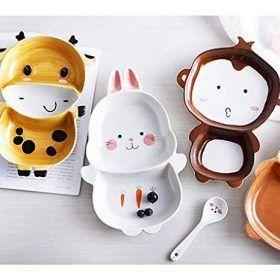 Youngqi Ceramics Porcelain Cartoon Kids Dishes Set Includes Kids Cups Kids Plates Kids Bowls Flatware Set Kids Kids Dinnerware Kids Plates Kids Plates Set