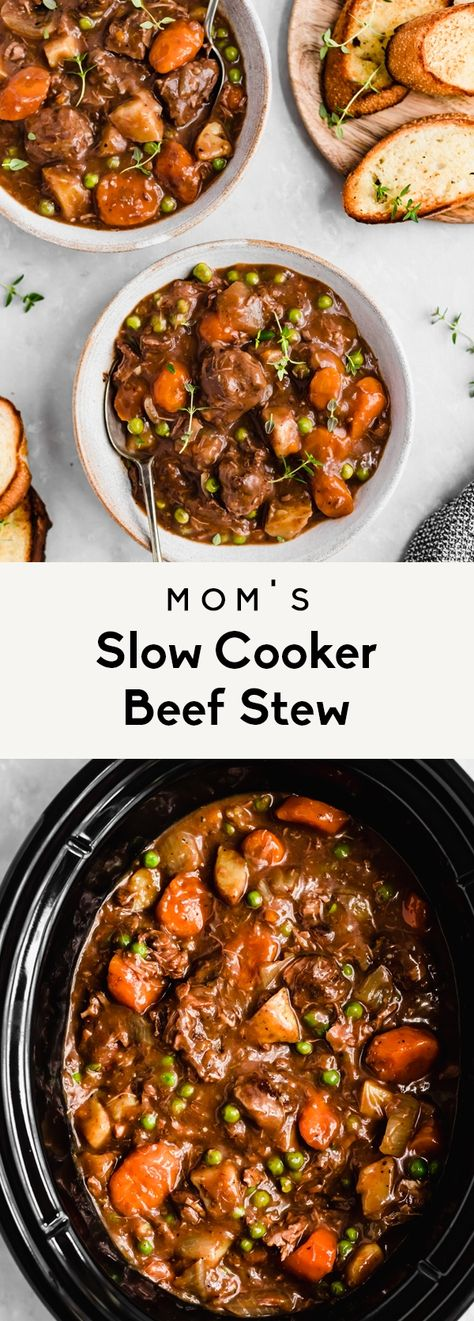 Mom's best ever slow cooker beef stew recipe cooked to perfection with dry red wine, veggies & potatoes. Everyone loves this easy beef stew recipe! Slow Cooking, Slow Food, Easy Cooking, Easy Beef Stew, Slowcooker Beef Stew, Beef Stew Slow Cooker, Best Beef Stew Recipe, Beef Stews, Beef Stew Red Wine