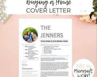Editable Home Offer Letter Customizable Cover Letter For Etsy Lettering Application Letter Template Application Letters