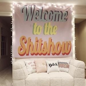 Who doesn't love the Shit Show Tapestry? This fun tapestry is the perfect fit for parties, or eclectic style in your bedroom, living room or dorm!