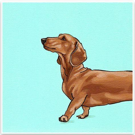 Yellow Brick Home Mini Modern Portraits Art Dog Art Dachshund Art