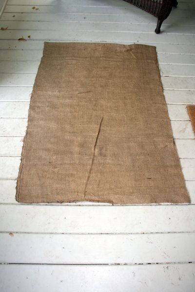 Burlap Rug With A Huge Painted Flower