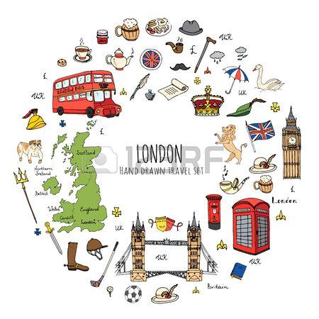 Hand drawn doodle United Kingdom set Vector illustration UK icons..