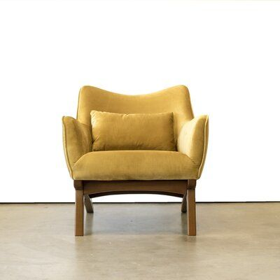 Ivy Bronx Abbie Armchair Upholstery Material Body Fabric Velvet Upholstery Color Yellow In 2020 Armchair Luxury Chairs Contemporary Armchair